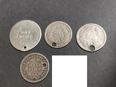 United States 5 Holed Coins Silver 3 cent half dime and dime