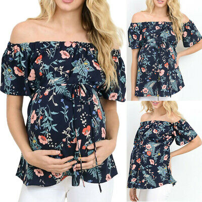 Women Maternity Short Sleeve Tops Breastfeed Off Shoulder Floral T-Shirt Blouse