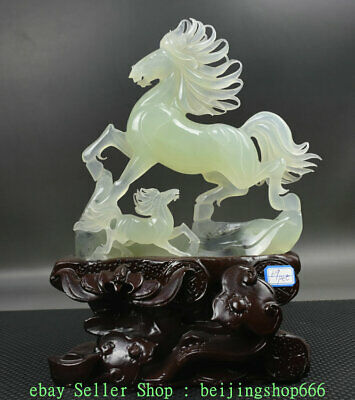 "14"" Chinese Natural Xiu Green Jade Jadeite Carved Zodiac Year 2 Horse Sculpture"