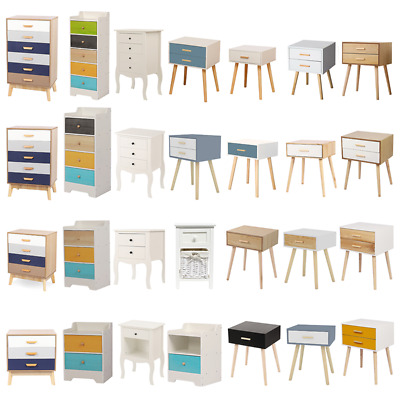 Wooden Bedside Tables Bedroom Storage Cabinets Chest of Drawers Nightstand Unit