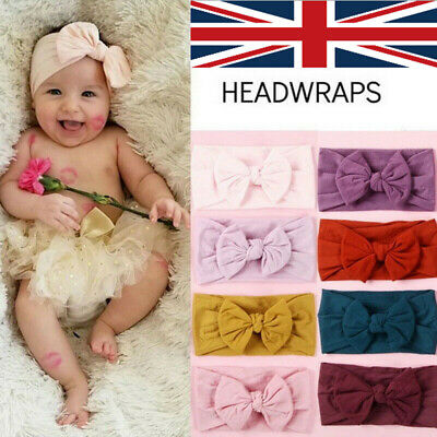 Baby Girls Kids Turban Knot Rabbit wrap Gifts UK Headband Bow Hair bands Head
