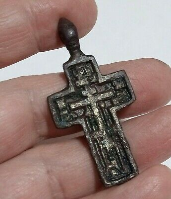 Orthodox Cross Crucifixion Ancient Rus 18-19 Old Believers  Psalm 68 Exorcism