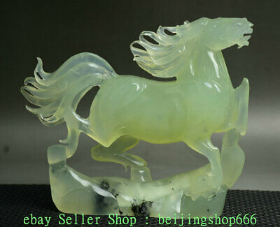 "8"" Chinese Natural Xiu Green Jade Jadeite Carved Zodiac Year Horse Sculpture"
