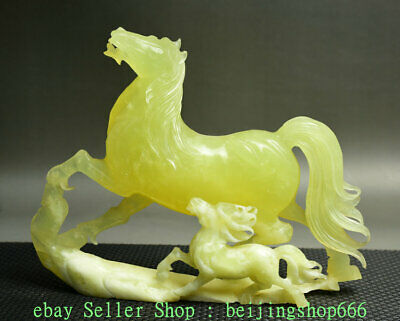 "10"" Chinese Natural Xiu Green Jade Jadeite Carved Zodiac Year 2 Horse Statue"