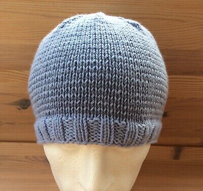 Handknitted fitted beanie 100% merino wool medium blue and  pale blue stripes
