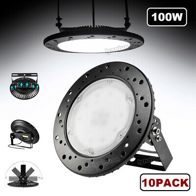 10X 100W UFO LED High Bay Light Commercial Industrial Factory Cool White IP65 UK