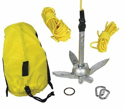 Folding Anchor Kayak Anglers Small Vessel 1.5 LBS Weight 50 Ft Line Ring Set NEW