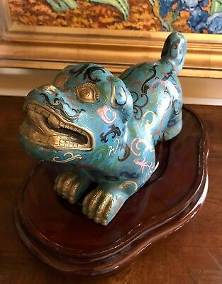 Splendid Old Qing Republic Chinese Cloisonne Foo Dog Lion Statue Figure ~Stand~