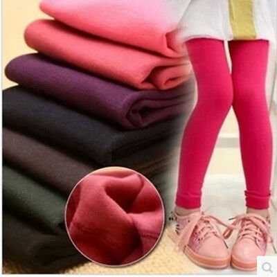 Girl Kids Winter Warm Fleece Lined Stretchy Thermal Pants Trouser Thick Leggings