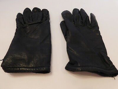 *Grandoe Ladies Black Leather Winter Gloves Polyestercrylic Lining Size 7.5