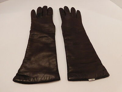 *Designer Ladies Brown Italian Leather Winter Gloves Angora Knit Lining Size 7