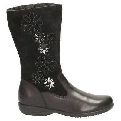 Clarks Girls Daisy Game Infant Black Leather/  Suede Boots UK Size 12.5 G