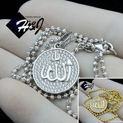 """30/""""MEN Stainless Steel 2.5mm Silver Bead Chain Muslim Allah Dog Tag Pendant*P113"""