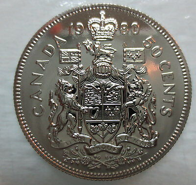 1980 Canada 50 Cents Proof-Like Half Dollar Coin