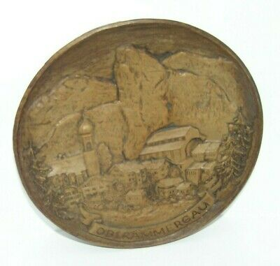 Old ~ Round Carved Oberammergau Decorative Wall Hanging Plate / Plaque