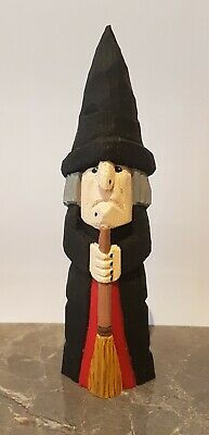 Hand carved and hand painted wooden witch