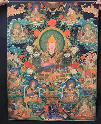 "36/"" Tibet Silk Satin Genghis Khan Jenghiz Khan Leader Head Tangka Painting Mural"