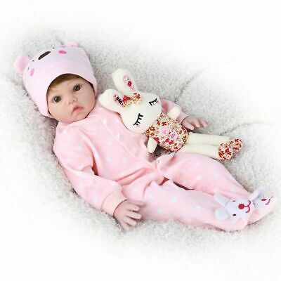 20'' Reborn Doll Baby Realistic Vinyl Silicone Newborn Wig Gift Girl Toy+Clothes
