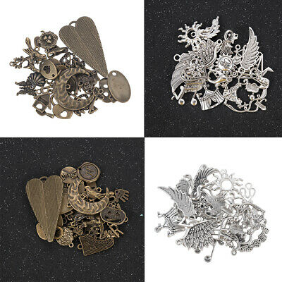 50g/Pack Vintage Bronze Silver Mixed Pendants Jewelry Making Charm DIY Crafts-WI