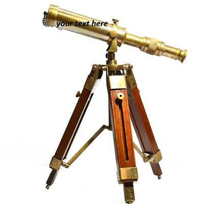 Antique Vintage Nautical Telescope With Wooden Tripod stand