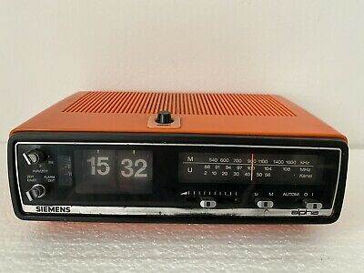 Radiowecker Siemens alpha, Typ RG 221 orange retro 70er Klappzahlenwecker