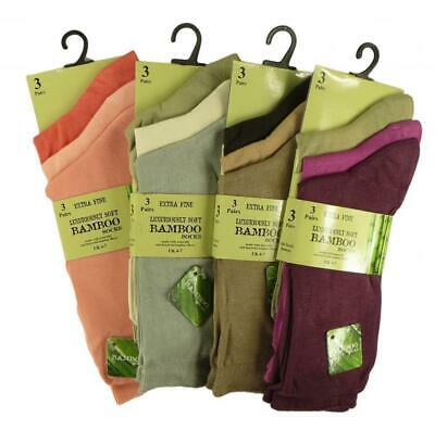 New Ladies 3 Pairs Extra Fine Bamboo Super Soft Anti Bacterial Socks