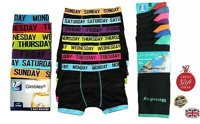 New Men's 7 Days Of The Week Comfort Fit Boxer Shorts Underwear Socks Gift Set