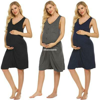 Women Casual V-Neck Sleeveless Solid Button Closure Lose Nightdress ElR8