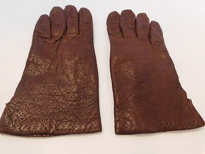 *Designer Ladies Brown Italian Leather Winter Gloves Orlon Knit Lining Size 7