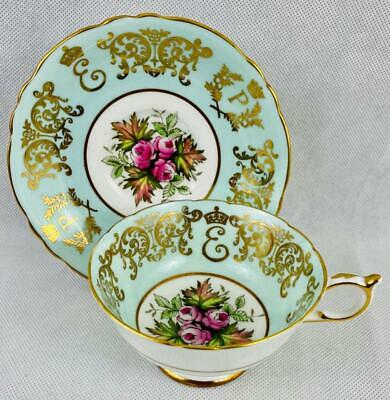 c1957 Paragon~Gold Gilt Fine China Cabinet Cup & Saucer~English Queen & Prince