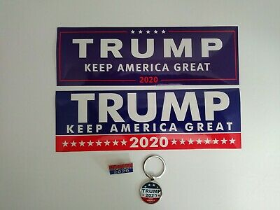 Donald Trump (2) Bumper Stickers - Pin - Key Chain 2020 Keep America Great