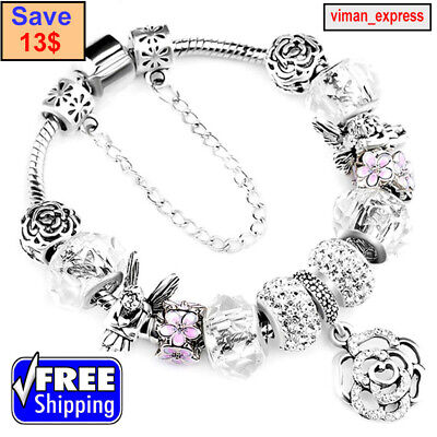 "Authentic Pandora 925 SILVER FASHION BRACELET WITH ""Love Story"" EUROPEAN CHARMS"
