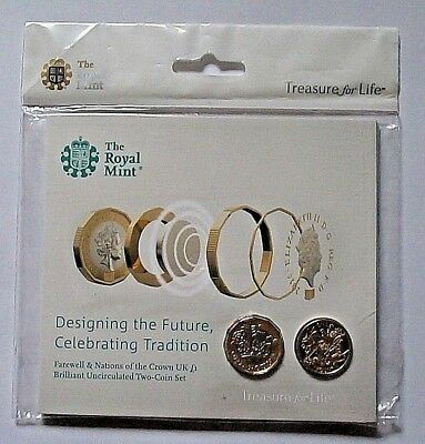 FAREWELL & NATIONS OF THE CROWN UK BU £1[x2] SET, Very RARE, ONLY 10,000 MINTED