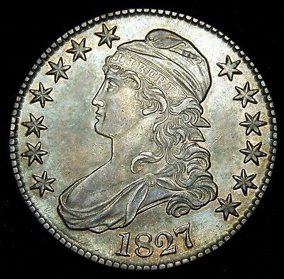 1827 Square Base 2, Capped Bust Half Dollar - AU Toned !!