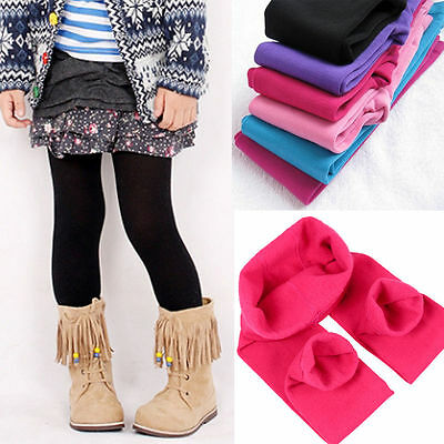 Kids Girls Fleece Leggings Winter Warm Thick Thermal Skinny Plain Trousers Pants