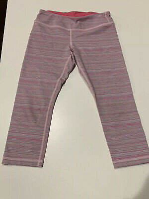 Cute Ivivva Girls Lululemon Made Pink multi-colored cropped pants Size 10 Yoga