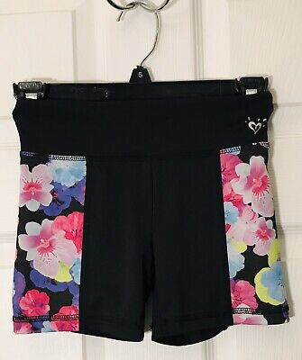 Justice Booty Shorts Spanks CHEER Floral Black Purple Size 8 EUC