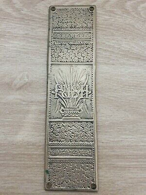 Antique Push Plate, Solid Brass.