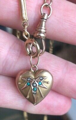 Antique  Edwardian  Turquoise Pearl Heart Puffy Locket Pendant Necklace 9ct