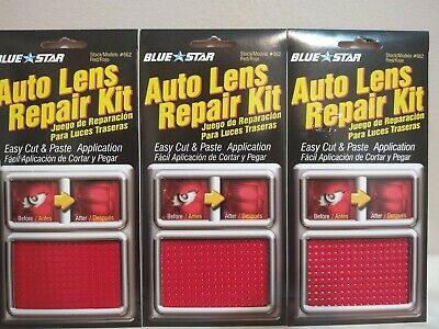 Lot of 3 Blue Star Model 662 Auto Lens Repair Kit Red Textured Easy Application