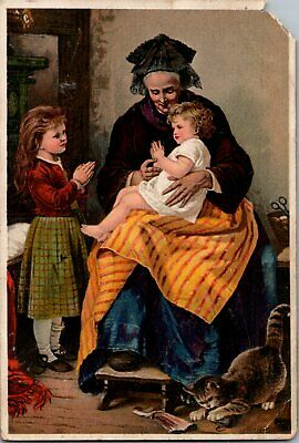 1880's Victorian Trade Card Dr. Jayne's Tonic Vermifuge The Morning Prayer  A13