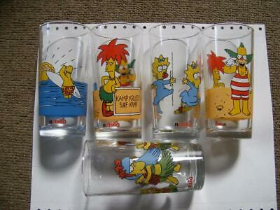 The Simpsons 5x glasses Nutella 1998 1990's  kraft collectable