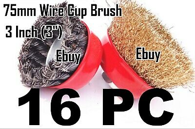 "16pc 3"" x 5/8"" Arbor FINE Crimp & Knot Wire Cup Brush Twist For Angle Grinder"
