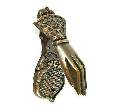 Door knocker Door Knob Handle Brass Entry Doorbell Buddha Hand Sculpture Decor