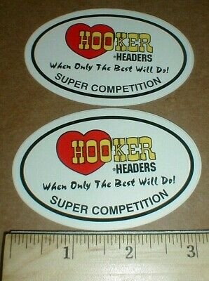 Hooker Headers Competition Hot Rod Speed Shop Drag racing decal sticker lot pair