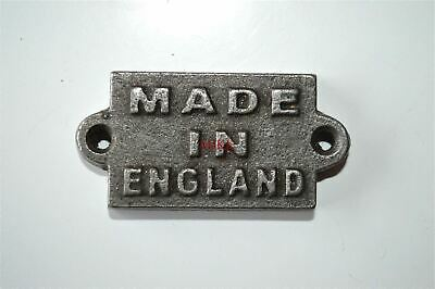 Small cast iron MADE IN ENGLAND plaque sign furniture sign industrial style
