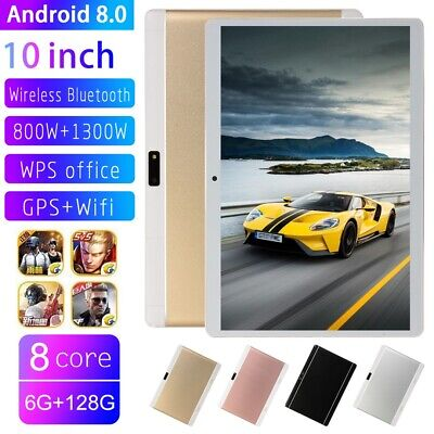 10.1 Inch Bluetooth Android 8.0 Tablet 8+128GB Phablet Phone Call PC Dual Camera