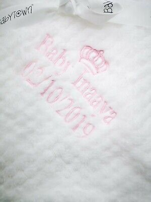 Personalised  embroidered BABY WAFFLE BLANKET birth block feet  SUPER SOFT