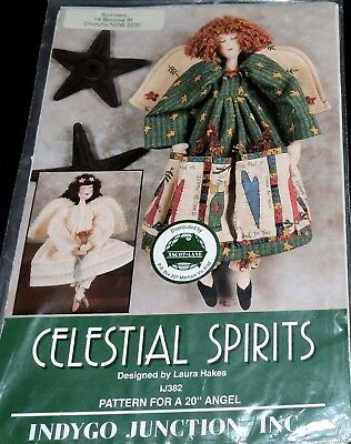 """Sewing Pattern Angel Celestial Spirits Doll Charm Wings Dress Pantaloons Toy 20"""""""