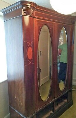 Vintage Edwardian style mirrored double wardrobe with cornice